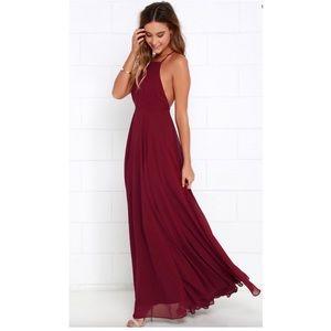 Lulu's Burgandy Wine Color Maxi Dress